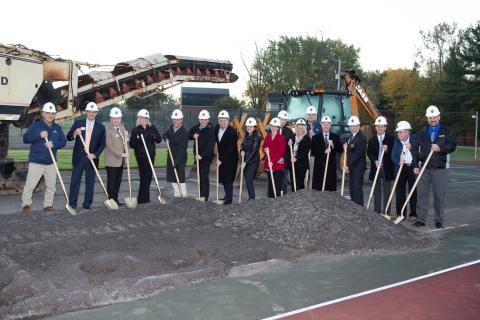 Campus CMG President Tom Sexton, Senior Project Manager Robert Roberts, Assistant Project Manager David Levchuk, and Senior Field Manager David Spitale joined Honeoye Falls-Lima CSD representatives and project team members for the Phase II Facilities Improvement Project groundbreaking ceremony.
